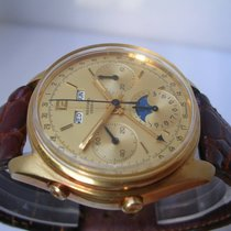 Record Geneve Chronograph Valjoux 88 Moon Phases 18Kt Solid Gold
