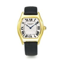 Cartier W1540151 Tortue 34mm in Yellow Gold - on Black Leather...