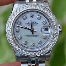 Rolex Ladies Datejust Watch Diamond Dial Bezel Yr 2010