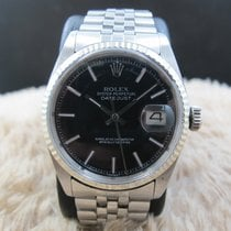 Rolex DATEJUST 1601 SS Glossy Black Dial with Folded Jubilee