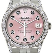 Rolex Datejust Men's 36mm Satin Pink Dial Stainless Steel...
