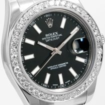Rolex 41mm Steel Datejust Black Dial 2.5 ct Ch. Set Diamond Bezel