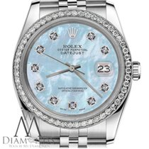 Rolex 36mm Rolex Datejust Stainless Steel Jubilee W/baby Blue...