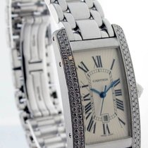 Cartier Tank Americaine 18k White Gold & Diamonds Watch...
