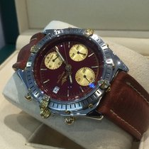 Breitling Chronomat Gold Steel Oxblood Red Dial 39 mm