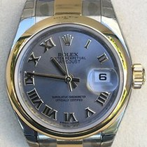 Rolex Ladies Datejust Two Tone Smooth Bezel Oyster Bracelet...