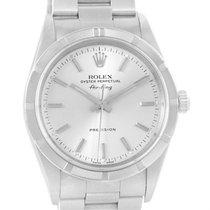 Rolex Air King Steel Silver Baton Dial 34mm Mens Watch 14010