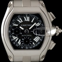 Cartier S/S Black Dial Roadster Chronograph XL Gents W62019X6