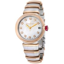 Bulgari LVCEA White MOP Diamond Steel and Gold Watch
