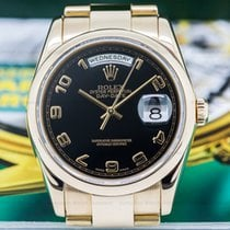 Rolex 118205 Day Date Oyster President Black Arabic Dial 18K...