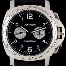 Panerai 18k White Gold Rare Luminor Chronograph Gents B&P...