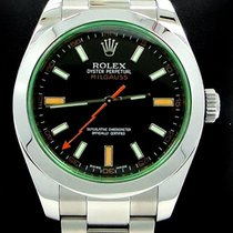 Rolex Milgauss 116400 Green Crystal Black Dial Oyster Papers...