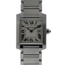 Cartier Tank Francaise Mid Size Stainless Steel Silver Roman...