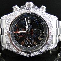 Breitling Mens XL Breitling Black Dial Genuine Diamond...