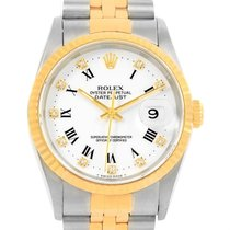 Rolex Datejust Steel Yellow Gold White Diamond Dial Mens Watch...