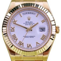 Rolex Day-Date II 218238-WHTRFP 41mm White Roman Fluted Yellow...