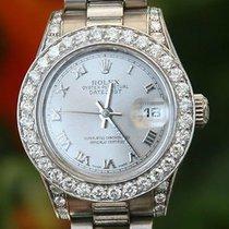 Rolex Ladies 26mm President 18k White Gold Diamond Bezel Lugs...