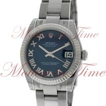 Rolex Datejust 31mm, Blue Dial, White Gold Fluted Bezel -...