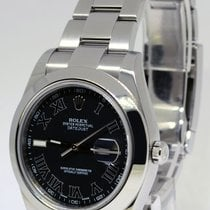 Rolex Datejust II Stainless Steel Black Roman Dial Mens Watch...