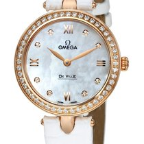 Omega DeVille Prestige White Mother Of Pearl Dial Ladies Watch