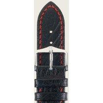 Hirsch Uhrenarmband Leder Jumper schwarz/rot L 04402051-2-24 24mm