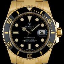 Rolex 18k Y/G Unworn Black Dial Submariner Date Gents B&P...