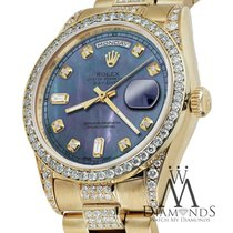 Rolex Presidential 36mm Day Date Tahitian Diamond Watch 18 Kt...