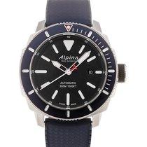 Alpina Seastrong Diver 44 Black Dial Blue Rubber Strap