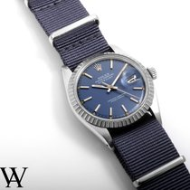 Rolex SS 36mm Datejust Blue Stick Dial Navy NATO Strap Non-Quick
