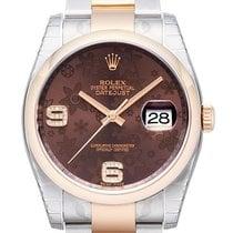 Rolex Datejust 36 Edelstahl Roségold  Schoko Dia Oyster LC100