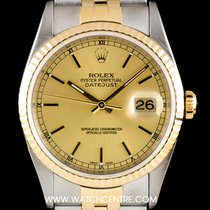 Rolex S/S & 18k Y/G Champagne Baton Dial Datejust Gents 16233
