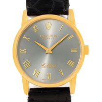 Rolex Cellini Classic 18k Yellow Gold Slate Dial Watch 5116...