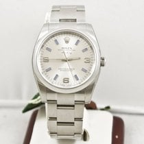 Rolex Air King 114200 Silver Face 34mm Watch Box & Papers...