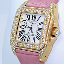 Cartier Santos 100 Midsize Wm502051 Fact Diamond 18k Y Gold...