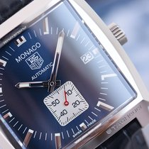 TAG Heuer Monaco Calibre 6 Automatic Steel on Leather Blue...