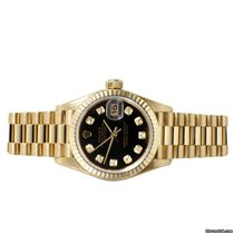 Rolex Ladies 18K Yellow Gold President - Black Diamond Dial 69178