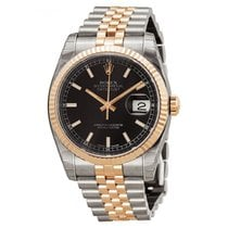 Rolex DATEJUST 36mm Steel & 18K Rose Gold Black Dial