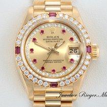 Rolex Datejust Gelbgold 750 Rubine Brillanten Lady Date Just
