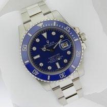 Rolex 116619 Submariner White Gold Blue Diamond Dial