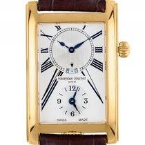 Frederique Constant Caree GMT Gelbgold Quarz Armband Leder...