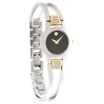 Movado Amorosa Diamond Two Tone Bangle Ladies Swiss Watch 0604983