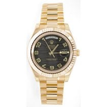 Rolex Day-Date II 218238 18K Yellow Gold 41MM Black Wave...