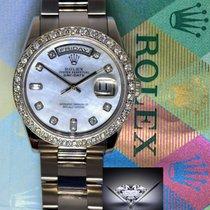Rolex Mens Day Date 18k White Gold & Diamonds MOP Dial...