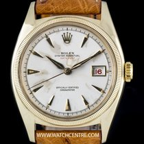Rolex 18k Y/G Silver Baton Semi Bubble Back Red Datejust 6075