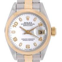 Rolex Ladies Rolex Datejust Watch Steel with Smooth Gold Bezel...