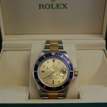 Rolex Submariner Two Tone SS/18kt YG Serti Champagne Dial-16613