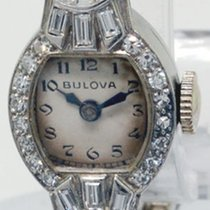 Bulova Ladies Vintage Platinum & Diamond Watch