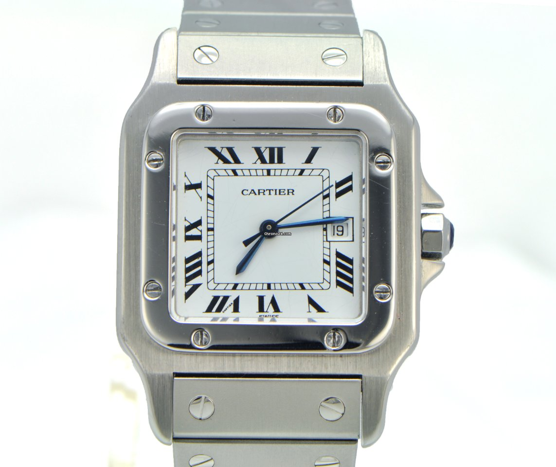 stainless watches xl product cartier mens steel santos watch