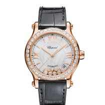 Chopard Ladies 274808-5006 Happy Sport  Rose Gold-Diamond Watch