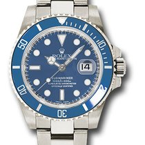 Rolex white gold blue dial ceramic submariner